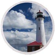 Crisp Point Lighthouse 7 Round Beach Towel
