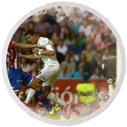 Cristiano Ronaldo Heads The Ball During The Spanish League Footb Round Beach Towel