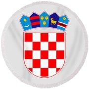 Croatia Coat Of Arms Round Beach Towel