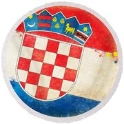 Croatia Flag Round Beach Towel