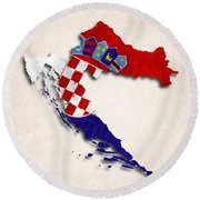 Croatia Map Art With Flag Design Round Beach Towel