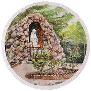 Crockett California Saint Rose Of Lima Church Grotto Round Beach Towel