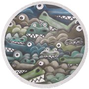 Crocodile Soup Round Beach Towel