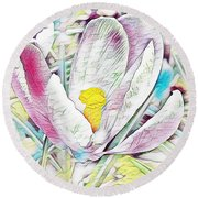 Crocus Round Beach Towel