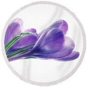 Crocuses - Impressions Round Beach Towel