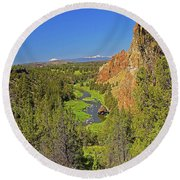 Crooked River And Mt Hood Oregon Round Beach Towel
