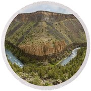 Crooked River Gorge Round Beach Towel