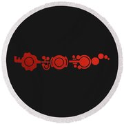Crop Circle Formation Near Market Harborough In Leicestershire England In Red Round Beach Towel