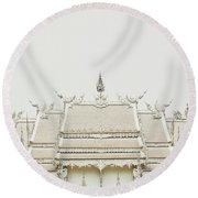 Crop Of A Exquisite And Magnificent Roof Of White Temple Aka Wat Rong Khun In Thailand Round Beach Towel