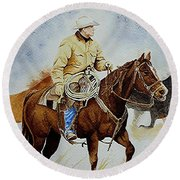 Cropped Ranch Rider Round Beach Towel