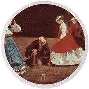 Croquet Scene Round Beach Towel