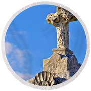 Cross 1-greenwood Cemetary Round Beach Towel