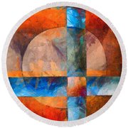 Cross And Circle Abstract Round Beach Towel