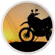 Cross-country Motorbike And Stony, Traveling In Tough Roads Round Beach Towel