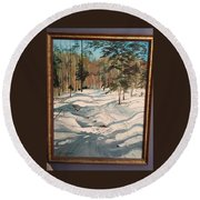 Cross Country Ski Trail Round Beach Towel