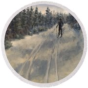 Cross Country Skiing  Round Beach Towel