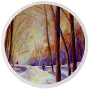 Cross Country Sking St. Agathe Quebec Round Beach Towel