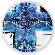 Cross In Blue Round Beach Towel