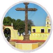 Cross In Cholula, Mexico Round Beach Towel