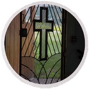 Cross On Church Door Open To Prison Yard Fence With Razor Wire Round Beach Towel