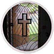 Cross On Church Door Open To Prison Yard Round Beach Towel