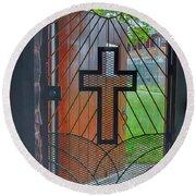 Cross On Church Door Open To Prison Yard With Light Round Beach Towel