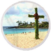 Cross In The Sand Round Beach Towel