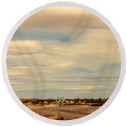 Cross Road In New Mexico Round Beach Towel