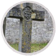 Cross Tombstone St. Mary's Wedmore Round Beach Towel
