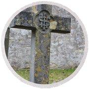 Cross Tombstone St. Mary's Wedmore Round Beach Towel