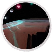 Crossing Over Planet Sky Round Beach Towel
