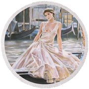 Crossing The Canal Round Beach Towel