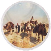 Crossing The Desert Round Beach Towel by Jean Leon Gerome