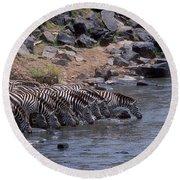 Crossing The Mara River Round Beach Towel