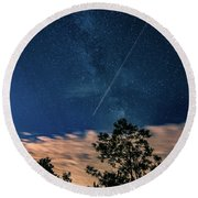 Crossing The Milky Way Round Beach Towel
