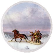 Crossing The Saint Lawrence From Levis To Quebec On A Sleigh Round Beach Towel by Cornelius Krieghoff
