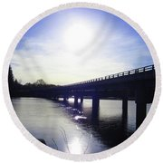 Crossing The Wisconsin River Round Beach Towel