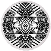 Crossroads To Ornamental - Abstract Black And White Graphic Drawing Round Beach Towel