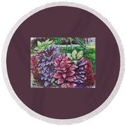 Crotons 1 Round Beach Towel