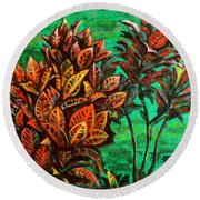 Crotons 5 Round Beach Towel