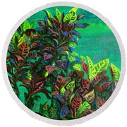 Crotons 7 Round Beach Towel