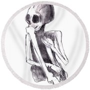 Crouched Skeleton Round Beach Towel