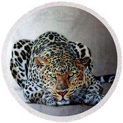 Crouching Leopard Round Beach Towel