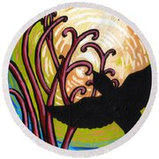 Crow And Full Moon In Winter Round Beach Towel