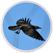Crow Flyby Round Beach Towel