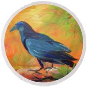 Crow In The Grass 7 Round Beach Towel