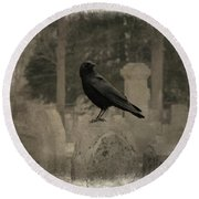 Crow In The Old Graveyard Mix Round Beach Towel