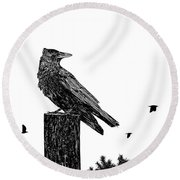 Crow On Fence Post Round Beach Towel