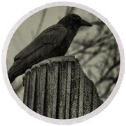 Crow Perched On A Old Column In Rain Round Beach Towel