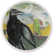 Crow Ruckus Round Beach Towel